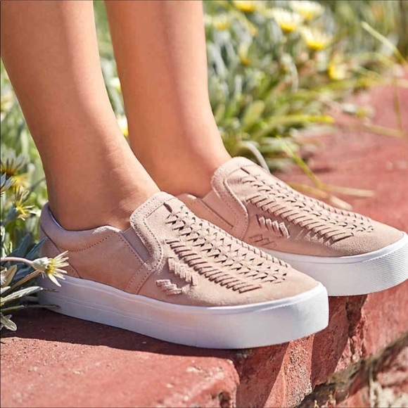 Marc Fisher Taupe Woven Suede Slip-on Dexie Low Top Sneakers New
